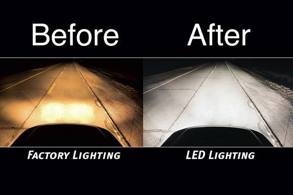 Before & after comparison with LED Headlight Bulbs installed