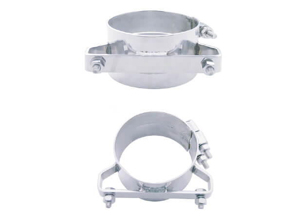 7 Inch Wide Chrome Exhaust Band Clamps Stainless Steel for Peterbilt