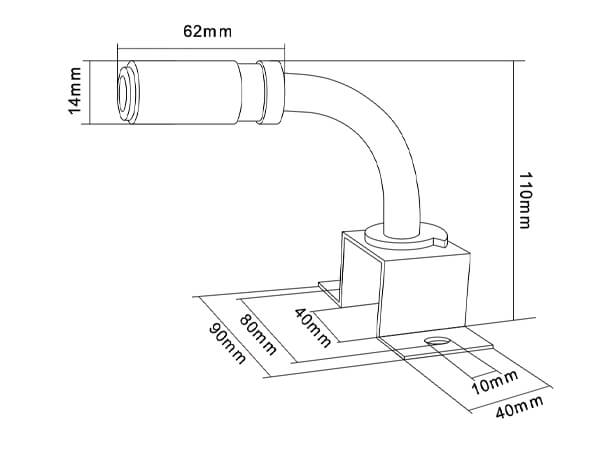 mount bracket flexible din pole with brass insert for led